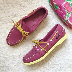Sebago Docksides Pink and Yellow Leather Boat Shoe